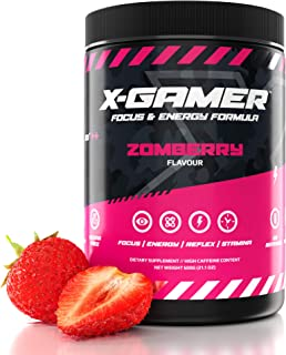 X-Gamer Zomberry X'Tubz   60 Servings   Healthy Strawberry Blend Energy and Focus Formula for Esports, Gaming, and The Digital Community