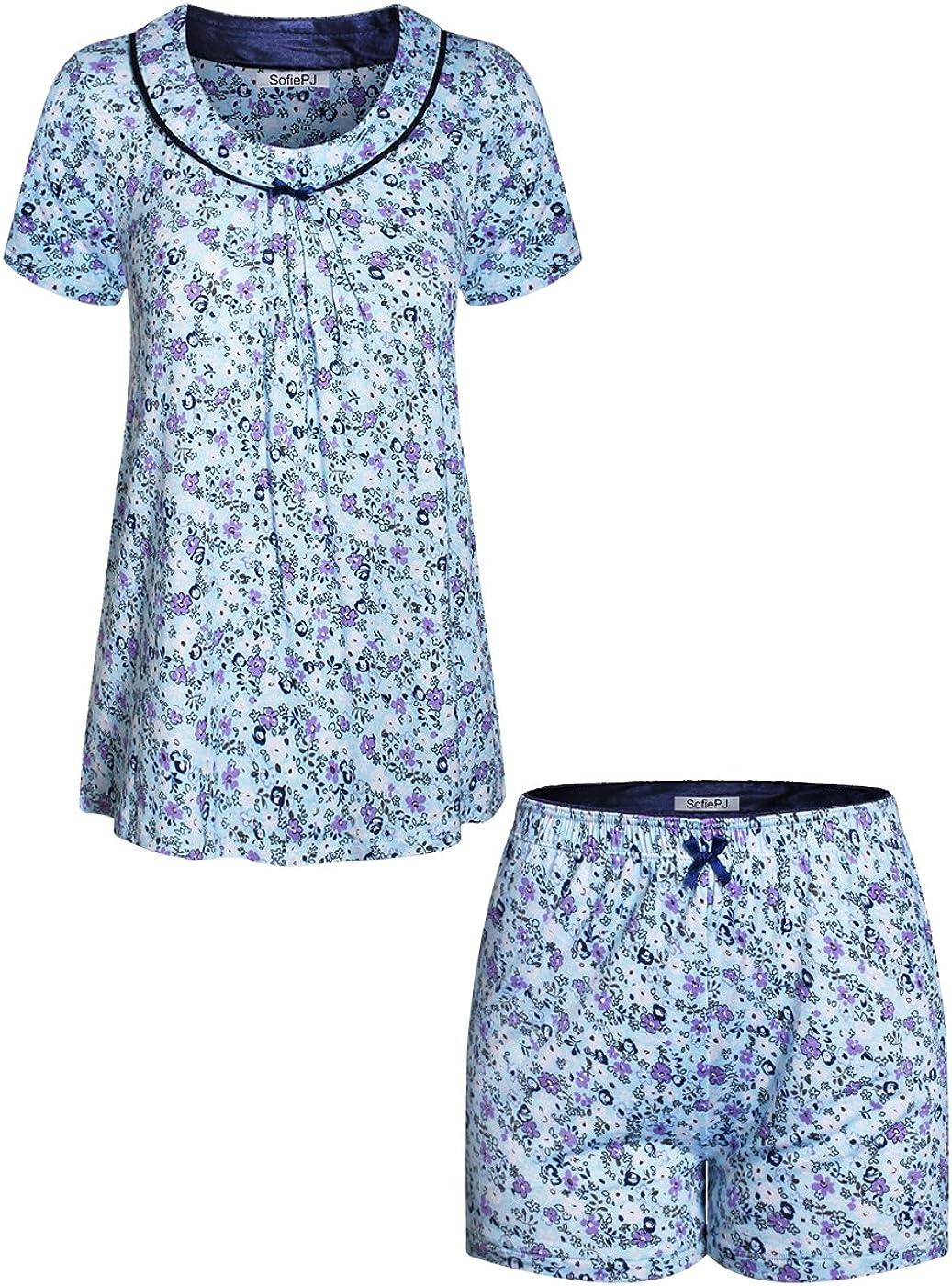 SofiePJ Women's Max 67% OFF Rayon Spandex Printed Short Neck Scoop Direct stock discount Sleepwear