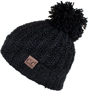 C.C Winter Hat Cable Knitted Large Soft Pom Pom Beanie Hat (HAT-7362)