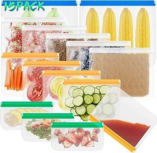15 PCS Rangement Alimentaires de Cuisine : Sacs à Sandwich, Sacs de Congélation, Sacs à Goûter, Sacs Réutilisables, Sacs d...