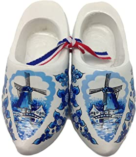 Essence of Europe Gifts E.H.G Decorative Wooden Shoe Clogs Dutch Landscape Design Blue and White (3.25