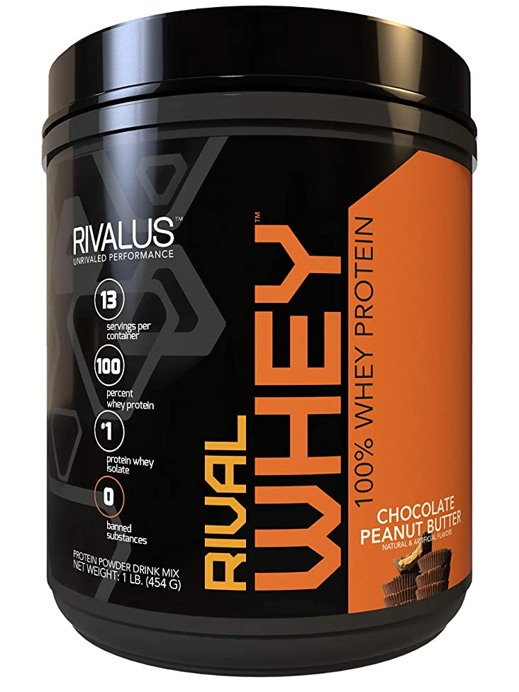 Rivalus Rivalwhey – Chocolate Peanut Butter 1lb - 100% Whey Protein, Whey Protein Isolate Primary Source, Clean Nutritional Profile, BCAAs, No Banned Substances, Made in USA.