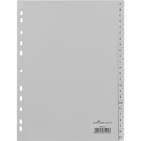 Durable 650810 1 Jeu de 24 Intercalaires avec Onglets imprimés A à Z A4 Gris