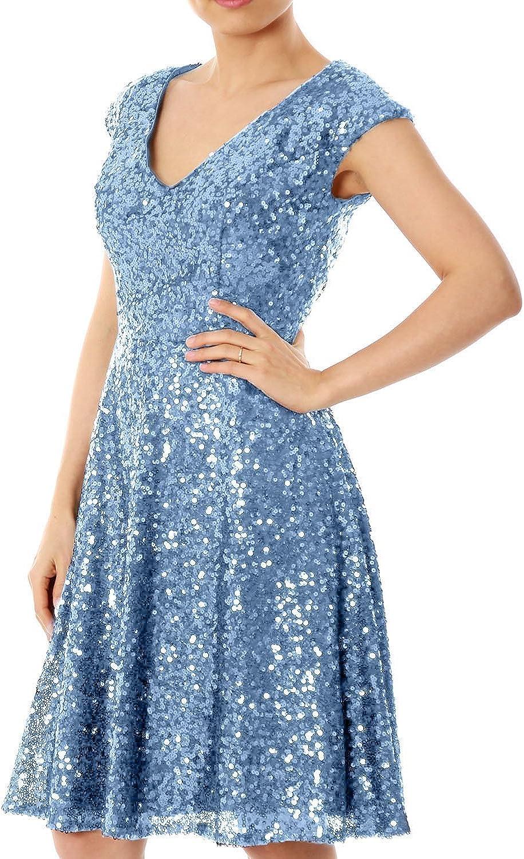 Sweet Bridal Women's Cap Sleeve V Neck Sequins Short Evening Dress