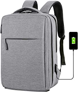 YOUPECK Business Carry On Travel Backpack, Anti Theft Backpack USB Charging Port, Water Resistant College School Computer Bag Women & Men Fits 15.6 Inch Laptop Notebook, Gray