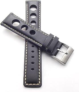 20 mm Rallye Reloj de pulsera Negro, piel auténtica con perforación Racing con costura blanca