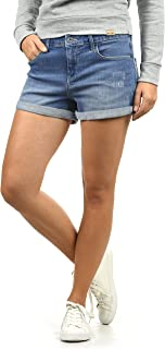 BlendShe Andreja Damen Jeans Shorts Kurze Denim Hose Mit Destroyed-Optik Aus Stretch-Material Skinny Fit