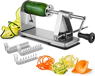 Mitbak Stainless Steel Vegetable Spiralizer Slicer | Industrial-Grade 3-Blade Zoodle Maker | Spiral Slicer Great For Salad, Low Carb, Vegan, Keto, Spaghetti | Gifts for Christmas