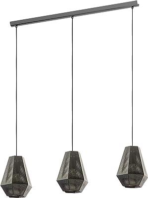 EGLO Lámpara colgante Chiavica, 3 focos, lámpara de techo industrial, vintage, moderna, lámpara de techo de acero en níquel negro, lámpara de comedor, lámpara de salón colgante con casquillo E27