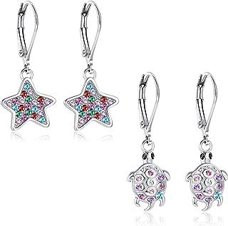 Balakie Fashion Metal Pineapple Leaves Dangle Earrings Star Moon Drop Earrings Vintage Geometric Hollow Out Earrings for Women Girls