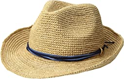 Raffia Crochet Fedora with Sueded Strands Trim