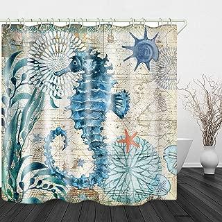 Retro Sea Dragon Print Shower Curtain Waterproof Polyester Cloth & Rustproof Copper Buckle Non-Pollution Digital Printing 72