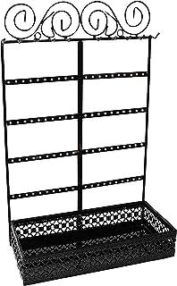 Soportes para Joyas - (26x40x12cm) Soporte Expositor de Joyas Metal con contenedor Rectangular, 10 Ganchos y 80 Agujeros - Organizador Colgante de Pared para Collares, Pendientes