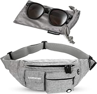 RFID Fanny Pack for Women and Men - Secure Travel Waist Bag with RFID Protection + Karpathic Microfiber Sunglasses Bag included