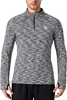Men's 1/4 Zip Pullover Thermal Thumbholes Running Long Sleeve Shirts Workout Outdoor Tops