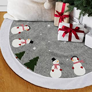 EDLDECCO Christmas Tree Skirt Snowman Printing with Faux Fur Trim 48 inches Large X'Mas Holiday Party Decor Ornaments
