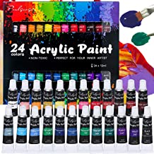 Sponsored Ad - Acrylic Paint Set, Brushes Vivid Paint Set Include 3 Brushes, 24 Rich Pigment Colors for Canvas,Wood,Cerami...