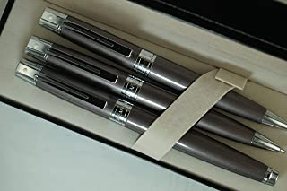 Cross Sheaffer 300 Limited Collection II, Metallic Brownish Grey, Compact, Polished Barrel and Appointments Fountain Pen, Ballpoint Pen and 0.7MM Pencil Set