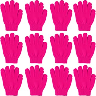 Cooraby 12 Pairs Kid's Winter Magic Gloves Children Stretchy Warm Magic Gloves Boys or Girls Knit Gloves (Magenta)
