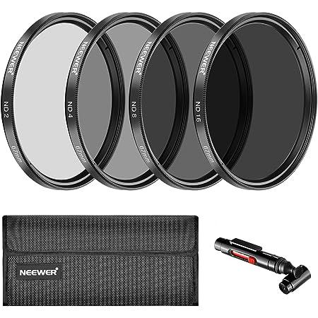 Neewer 67mm Filtre à densité Neutre ND2ND4ND8ND16et kit d'Accessoires pour Canon Rebel T5i T4i T3i T2i, EOS 700D 650D 600D 550D 70D 60D 7D DSLR, Pinceau pour Objectif, étui à Filtre