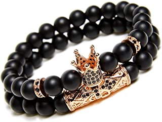 Black Matte Beads Bracelets 8mm Onyx Stone Bracelets Sets...