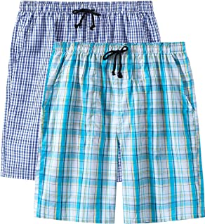 MoFiz Men's 2 Pack Pyjama Bottoms 100% Cotton Checked Lounge Wear Shorts with Pockets