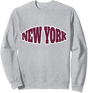 Classic Vintage Retro New York Burgundy Text - Heather Grey Sweatshirt