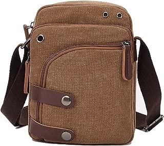 Small Canvas Messenger bag Cell Phone Purse Wallet Travel Crossbody Handbags for Men Women (Coffee)
