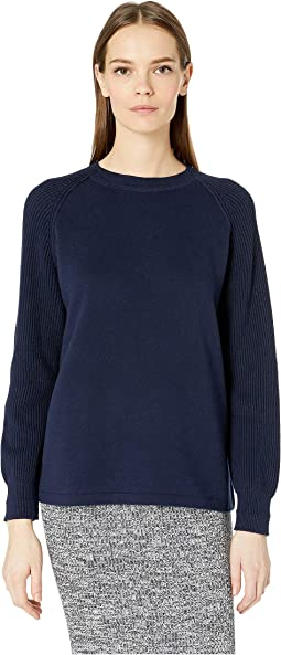 Ribbed Raglan Sleeve Crew