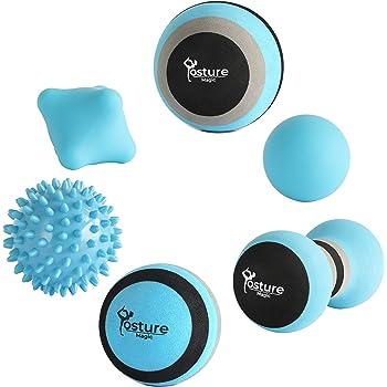 Posture Magic Massage Ball Set for Myofascial Trigger Point Release & Deep Tissue Massage - Set of 6 - Large Foam/Small Foam/Lacrosse/Peanut/Spiky/Hand Exercise Ball (Blue)