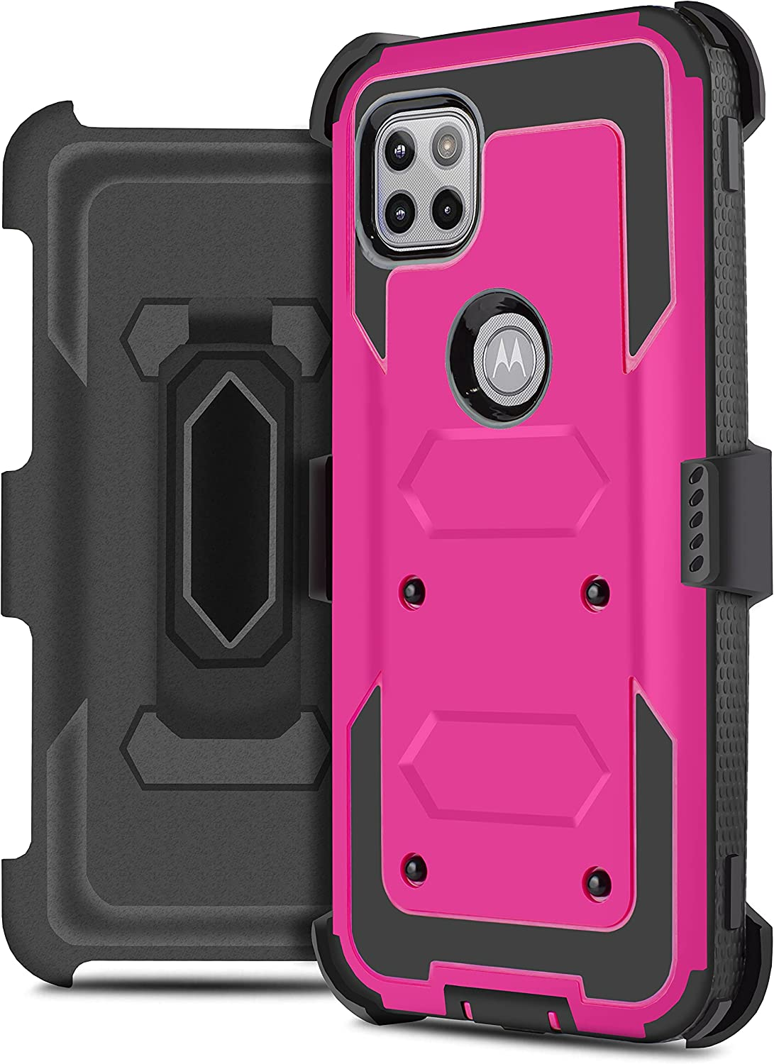 Jackpot Wireless Compatible for Motorola One 5G ACE Moto G 5G Holster with Swivel Belt Clip, Built-in Screen Protector Heavy Duty Full Body Protection Shockproof Kickstand Cover (Pink)