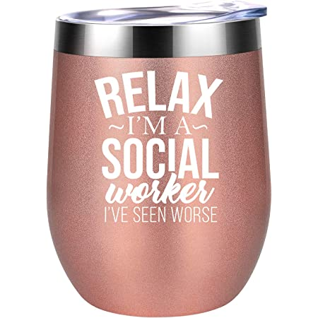 Social Worker Gifts for Women - Social Worker Mug - BSW, DSW, MSW Graduation Gifts - Mothers Day, Birthday, Appreciation Gifts for Social Worker, LCSW, School Social Worker - Coolife Wine Tumbler