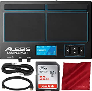 Alesis SamplePad 4 with Bundle Accessory Kit | Compact 4-Pad Electronic Drum Kit | Includes SanDisk 32 GB Memory Card + 1/...