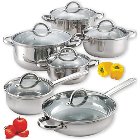 Amazon Com Cook N Home 12 Piece Stainless Steel Cookware Set Silver Cookware Sets Kitchen Dining