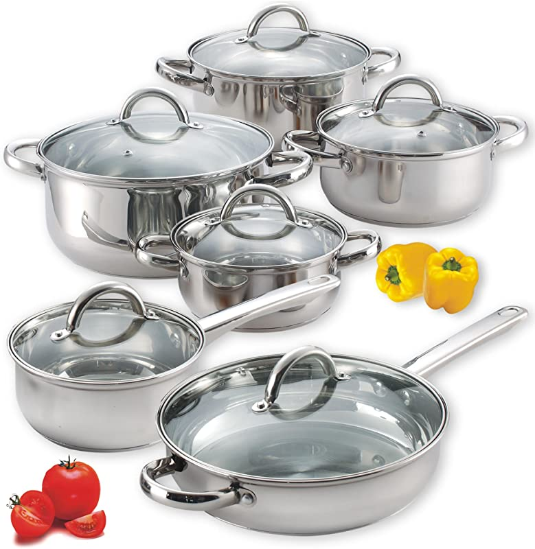 Cook N Home NC 00250 12 Piece Stainless Steel Cookware Set Silver