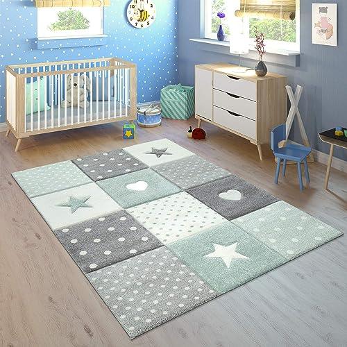 Paco Home Tapis Enfant Chambre Enfant Carreaux Pois Coeurs Étoiles Vert Pastel Gris, Dimension:140x200 cm