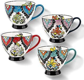 Mug set of 4, 15oz Large Capacity Mug Set for Coffee, Tea, Ice-cream, Ceramic Coffee Mugs for Hot and Cold Drinks