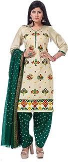 KATHIWALAS Women's Cotton Silk Kutch Work Bandhani/Bandhej Unstitched Dress Material Suit (LIGHT BROWN GREEN, Free Size)