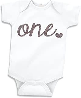Baby Girl First Birthday Outfit, Girls One Year Old Birthday Shirt (Glitter Silver, 12-18 Months)
