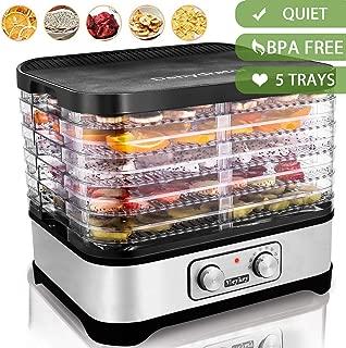 Food Dehydrator Machine, Electric Food Dryer for Jerky, Beef, Fruit, Vegetable, 5 Trays, Knob/BPA Free