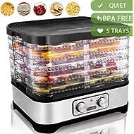 Food Dehydrator Machine Jerky... Food Dehydrator Machine Jerky with 5 Trays, Knob Button/250Watt