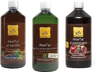 Lote de 3 zumos de aloe: aloe puro, aloe y arandanos, aloe y granada - 3 x 1000 ml