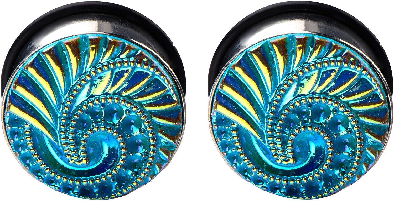 Zaya Body Jewelry Pair of 316L Surgical Steel Ear Plugs Tunnels Gauges Blue Pink Swirl Screw On Size 0g 00g 7/16 inch