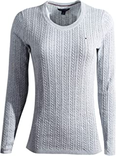 0fab78833 Tommy Hilfiger Womens Cable Knit Cotton Logo Sweater