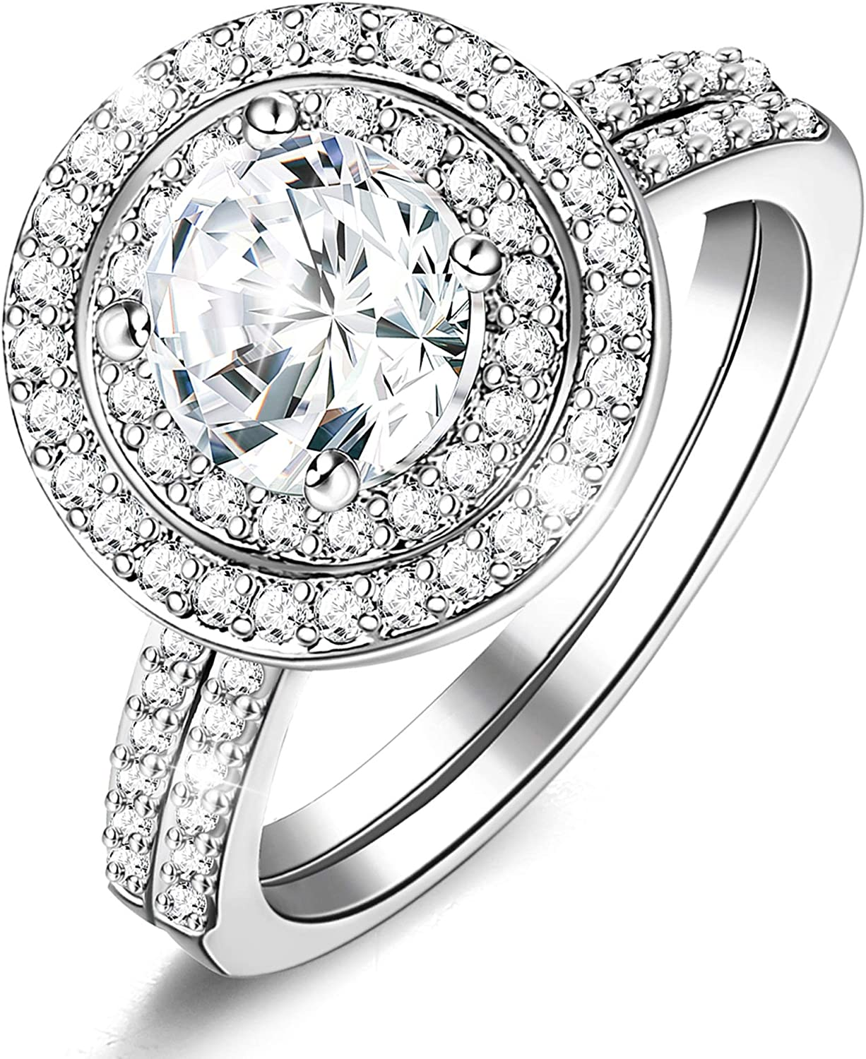Subiceto Cubic Zirconia Halo Wedding Rings White Gold Plated Two-in-one Engagement Promise Bridal Rings Sets for Women (Size 5-9)