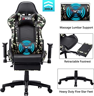 EDWELL Ergonomic Gaming Chair with Headrest and Lumbar Massage Support,Racing Style PC Computer Chair Height Adjustable Swivel with Retractable Footrest Executive Office Chair (Camo)