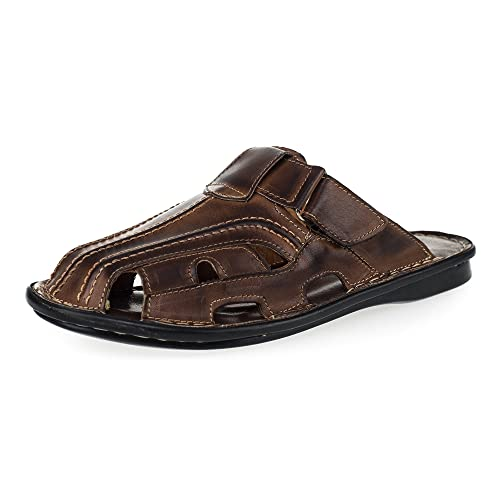 3a14cf69f2b4 KS® 014 Men Leather Summer Mules Brown