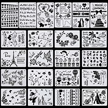 10.2 X 7.1 inch 22 Pcs Plastic Drawing Stencils Painting Templates Set for Kids,DIY Scrapbook,Painting Craft,Bullet Journal