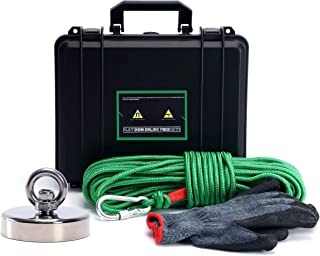 Magnet Fishing Kit with Case - Strong Magnet for Magnet Fishing with 575 Pound Pull Neodymium Magnet for Heavy Duty Use   Includes a Durable 65 ft Rope and Carabiner, Gloves and Waterproof Carry Case