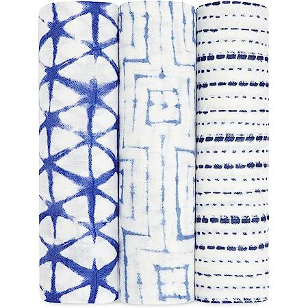 aden + anais Silky Soft Swaddle Blanket,100% Bamboo Viscose Muslin Blankets for Girls & Boys, Baby Receiving Swaddles, Ideal Newborn & Infant Swaddling Set, 3 Pack, Indigo Shibori